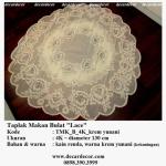 taplak meja makan bulat bunga TMK_B_4K_krem yunani