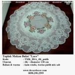 taplak meja makan bulat bunga TMK_BSA_4K_putih