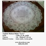 taplak meja makan bulat kain bunga TMK_B_4K_putih